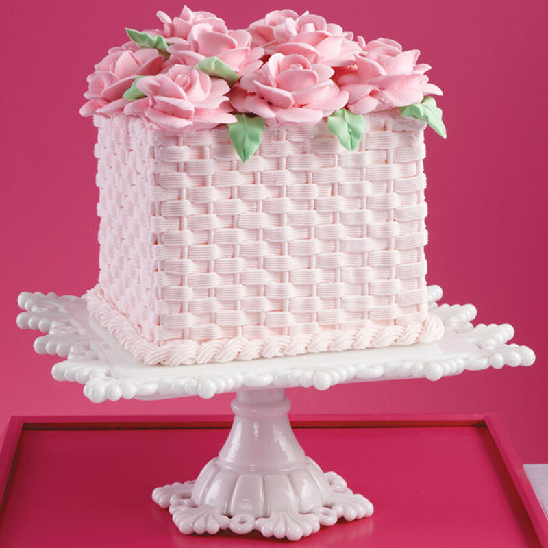 Basketweave Heights and Roses Cake image number 0