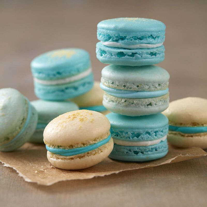 Blue French Macarons Wilton