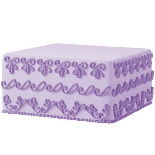 Sweetly Scrolled Square Cake