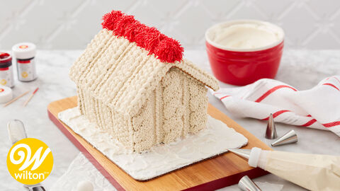 How to Make a Cozy Knit Decorated Gingerbread House