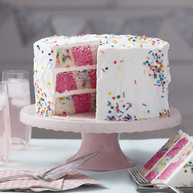 A Sprinkle of Pink Checkerboard Cake image number 0