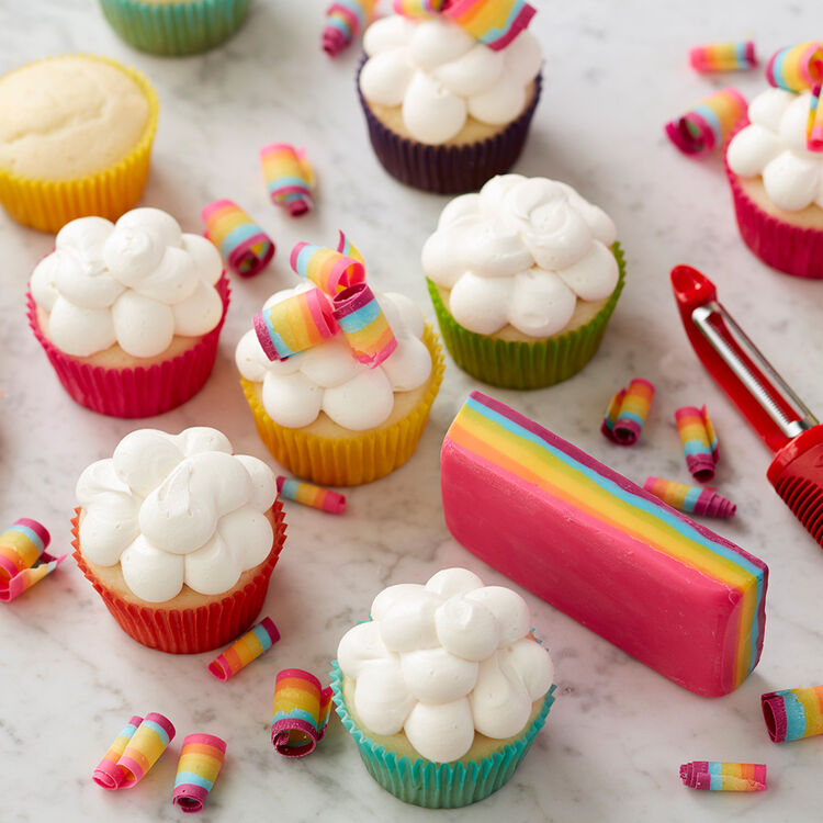 Rainbow Candy Curl Cupcakes