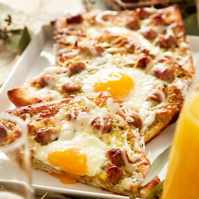 Sausage and Pesto Breakfast Pizzas