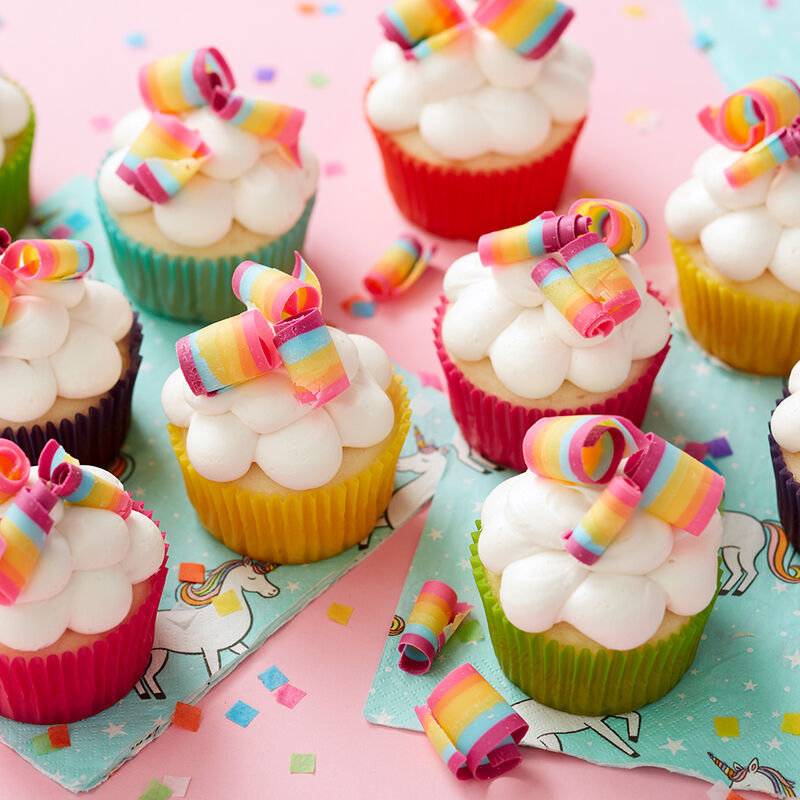 Rainbow Candy Curl Cupcakes image number 0