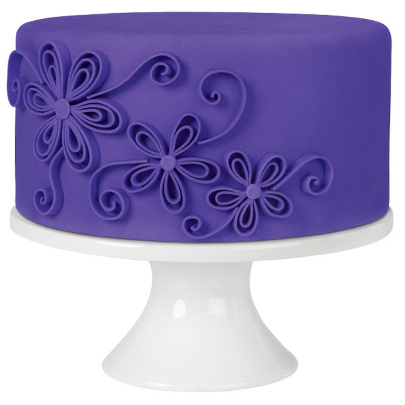 Quilled Flowers Purple Fondant Cake image number 0