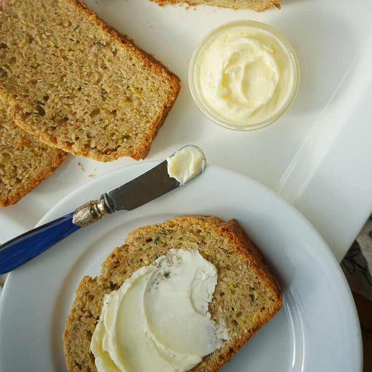 zucchini bread served with butter