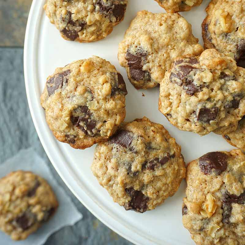 oatmeal chocolate chunk cookies served on a plate image number 0