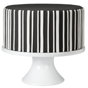Black-and-White Striped Fondant Cake