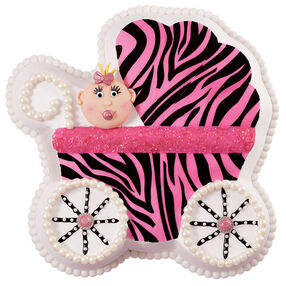 Zebra Diva Baby Carriage Cake