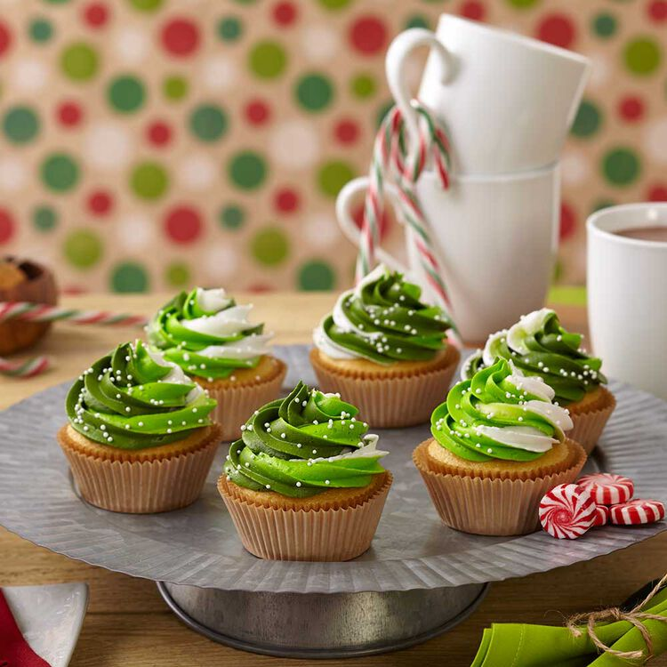 Holiday Cupcakes with Green ColorSwirl
