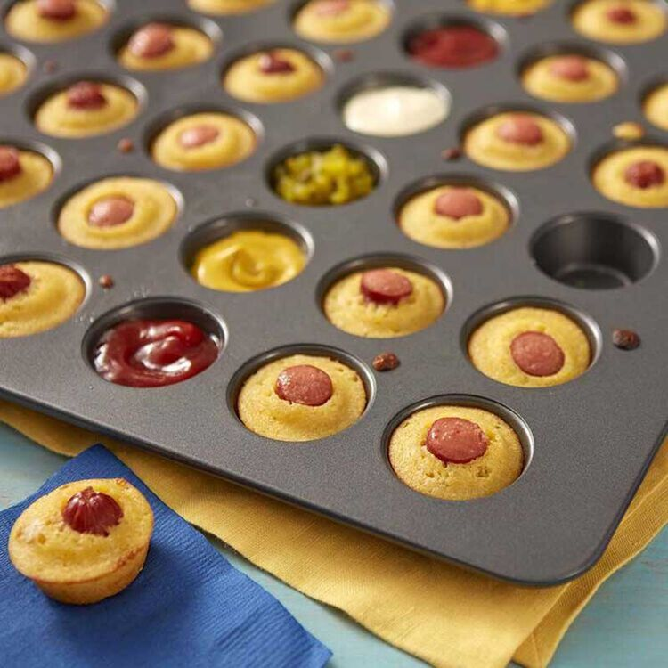 Mini Corn Dog Bites in Muffin Pan