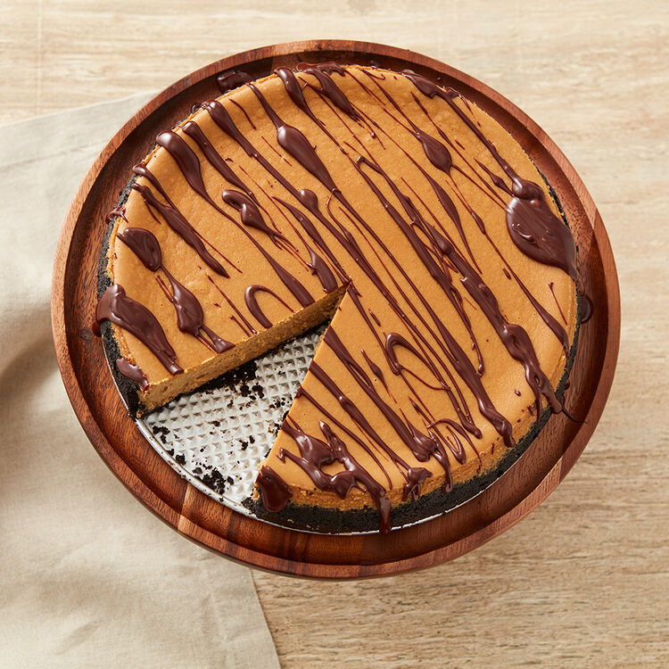 Mocha Cheesecake with chocolate drizzle, view from the top