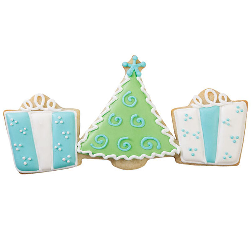 Blue, White, Green Christmas Tree & Presents Cookie image number 0