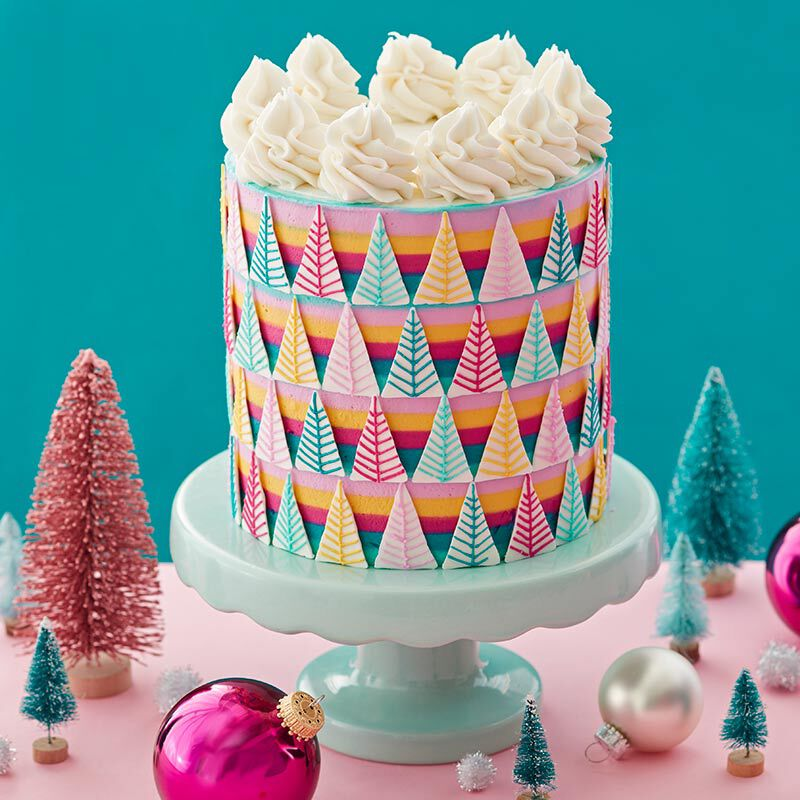 Striped cake with triangular Candy Melt trees image number 0