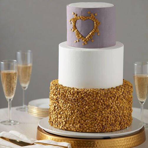 white wedding cake with gold glitter gold wedding cake wilton 27412