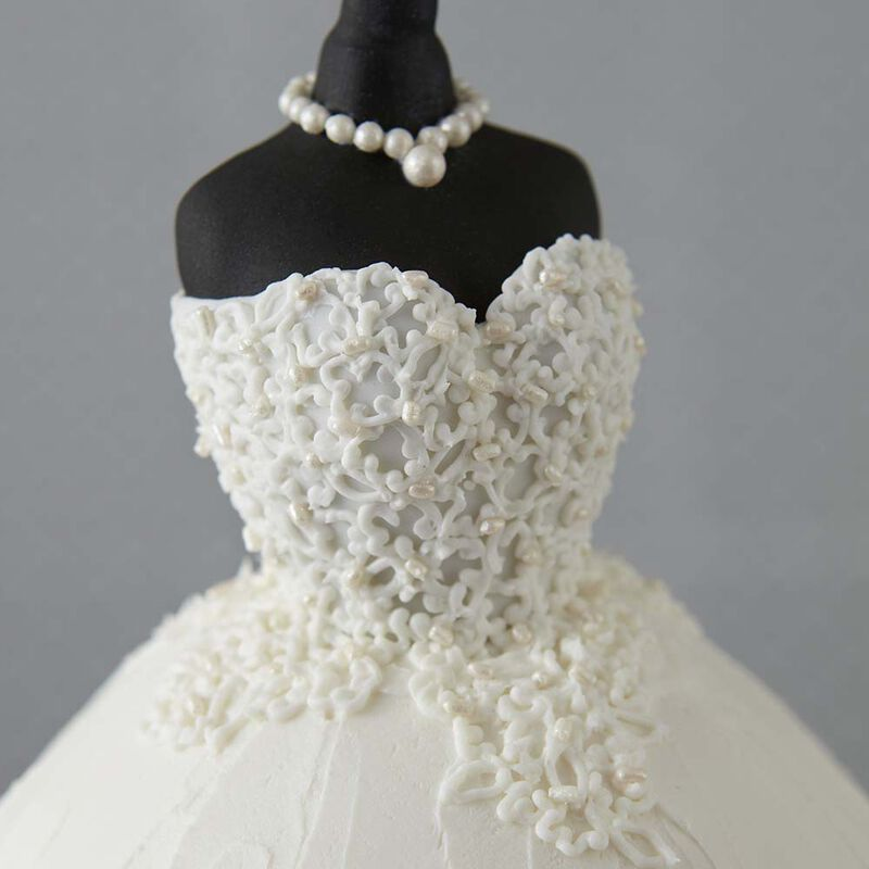 Elegant Wedding Dress Cake image number 2