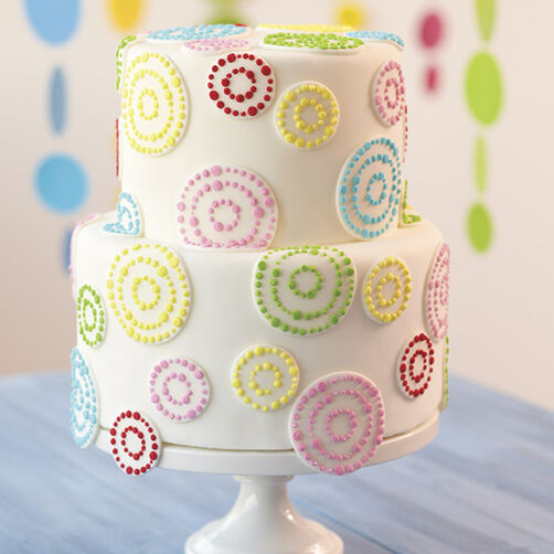 Dots in Circles Tiered Cake