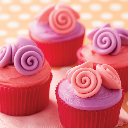 Pink and Purple Ribbon Rose Cupcakes