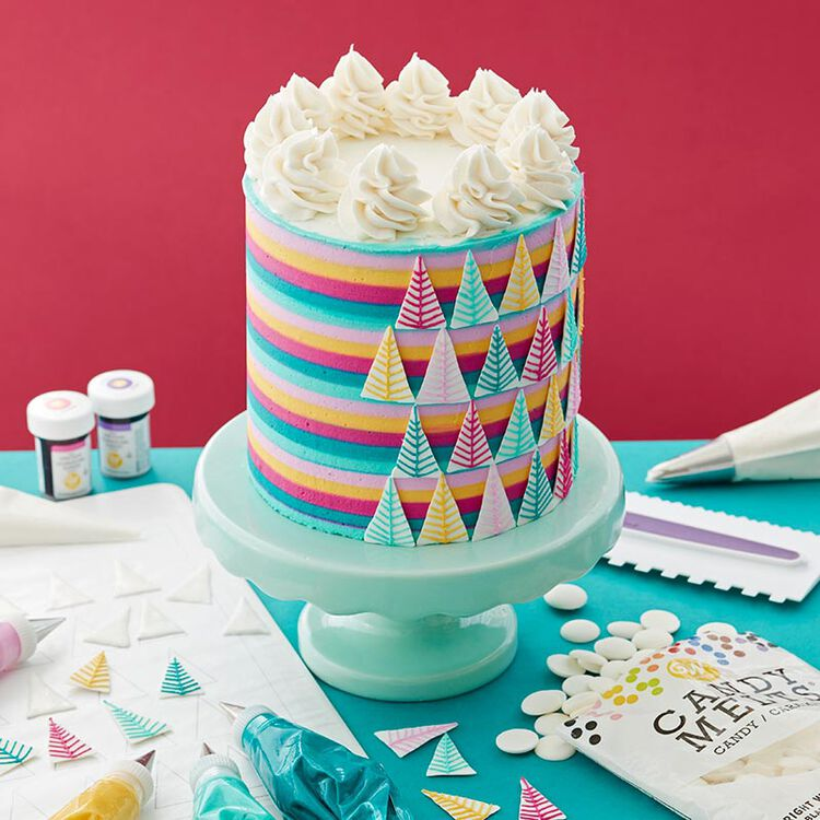 Striped cake with triangular Candy Melt trees