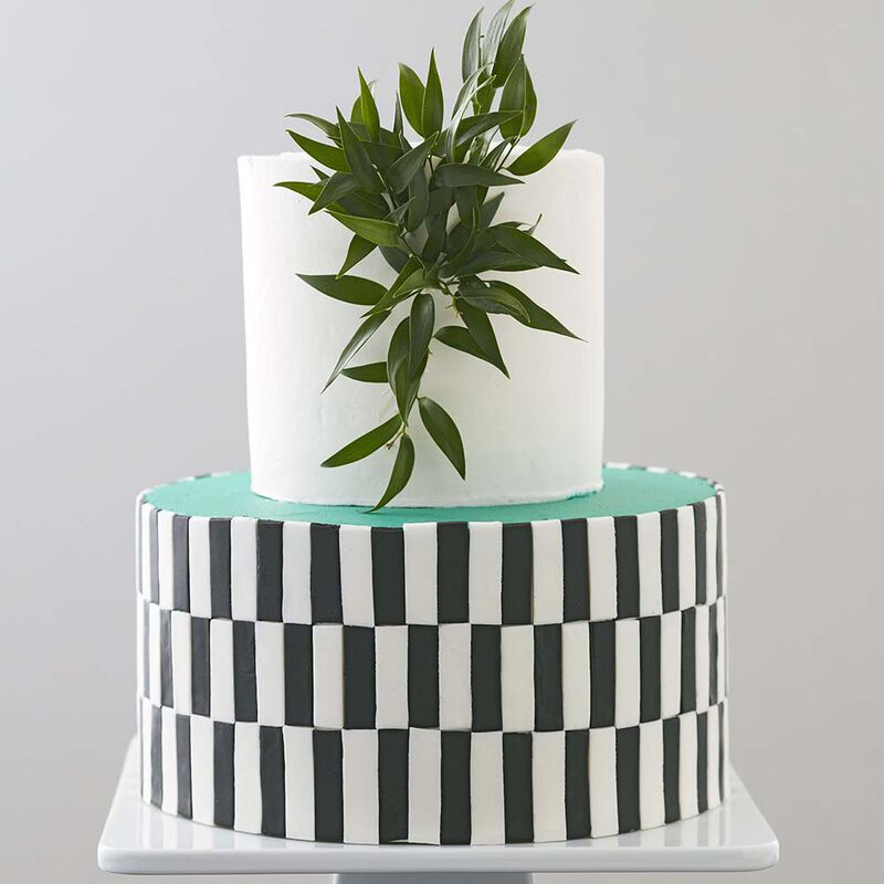 Black White and Teal All Over Cake image number 0