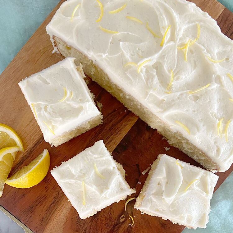 slices of lemon cake with lemon garnish