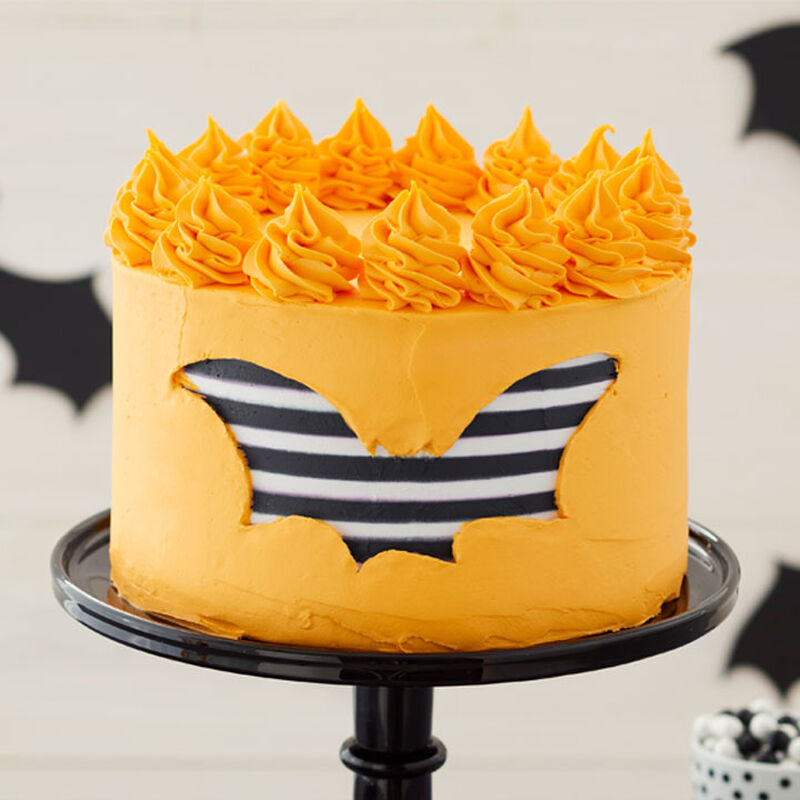 How to Make a Striped Bat Halloween Cake