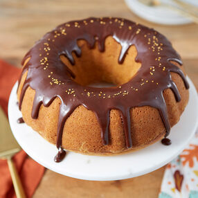 Pumpkin Pound Cake with Dark Chocolate Glaze Recipe