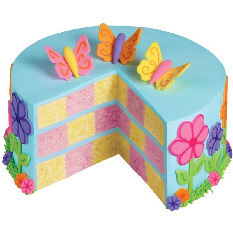 Spring Takes Flight Checkerboard Cake image number 0