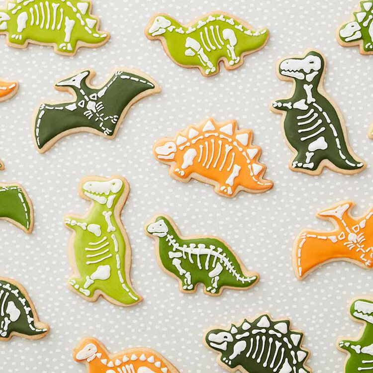 dinosaur decorated sugar cookies