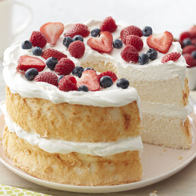 Angel Food Cake with Berries and Whipped Cream Recipe