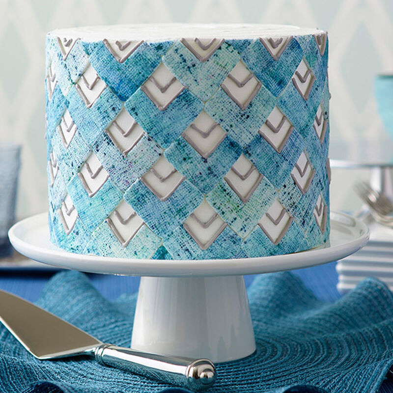 Denim Chevron Cake image number 0