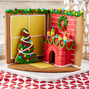 Cozy Fireplace Gingerbread Scene