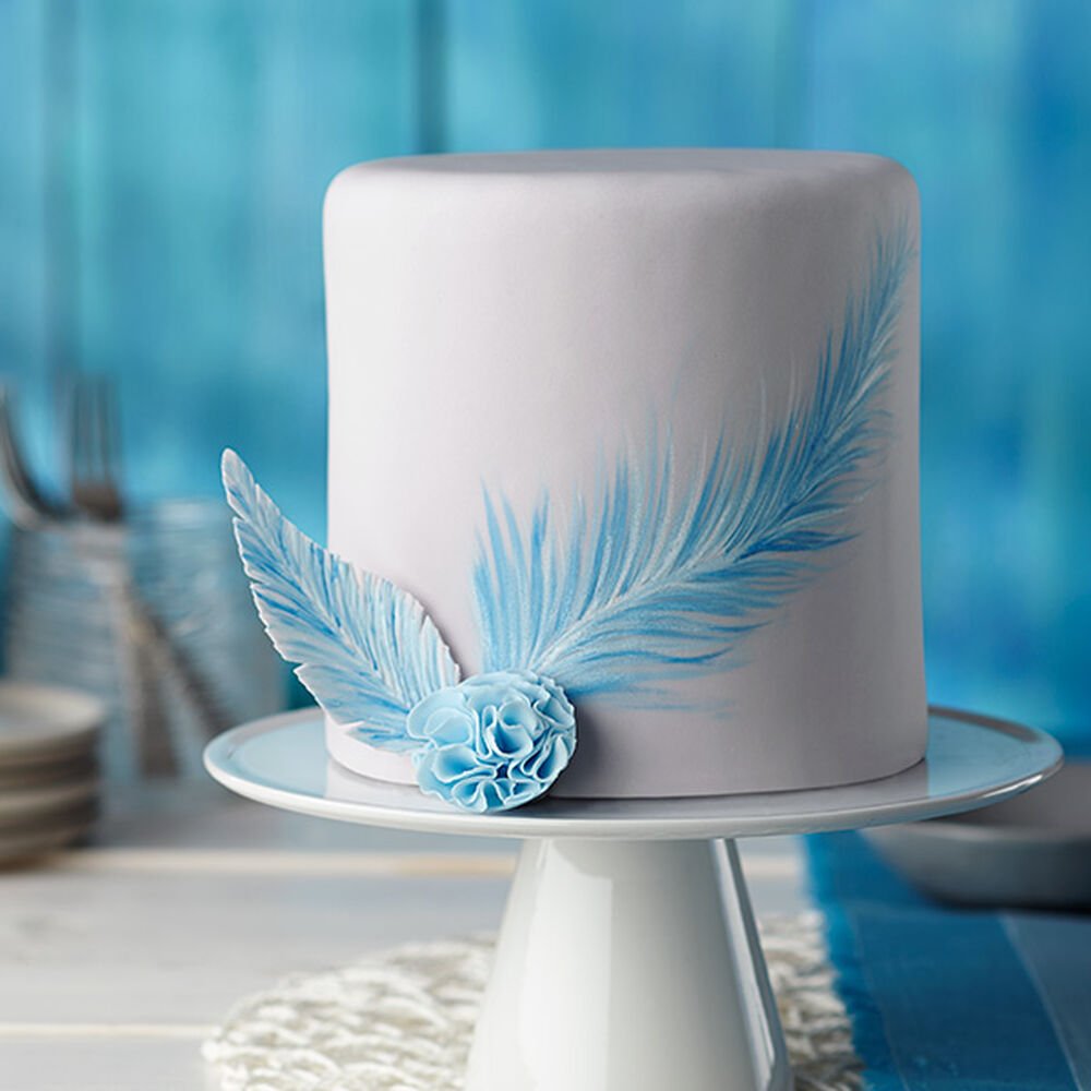 Painted Blue Feather Fondant Cake Wilton
