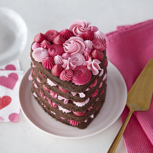 heart shaped cake with pink layers