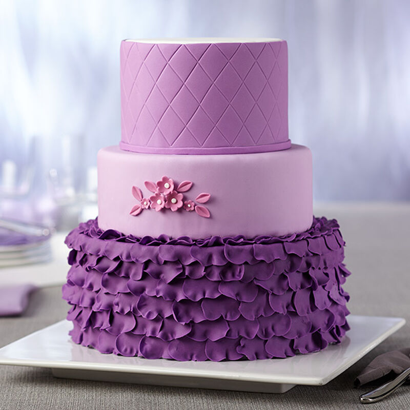 Radiant Orchid 3-Tiered Fondant Cake image number 0