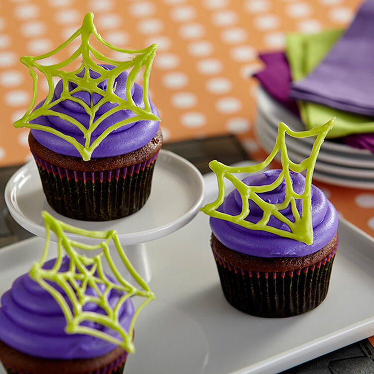 Chocolate Halloween Spider Web Cupcakes
