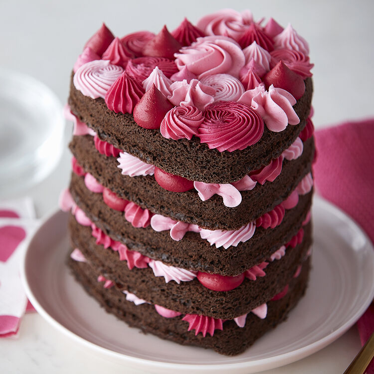 Heart Shaped Cake with Pink Layers | Wilton