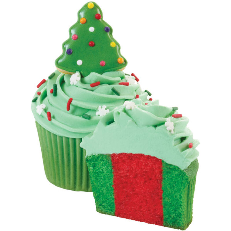 Colorful Holiday Cupcakes with Cookie Christmas Tree Topper image number 0