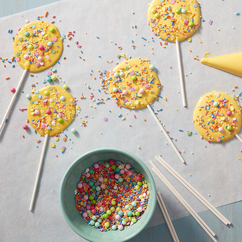 Colorful Sweet Pops made with Candy Melts and sprinkles image number 1