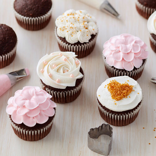 Pink, White, & Gold Cupcakes - Easy Cupcake Decorating Ideas