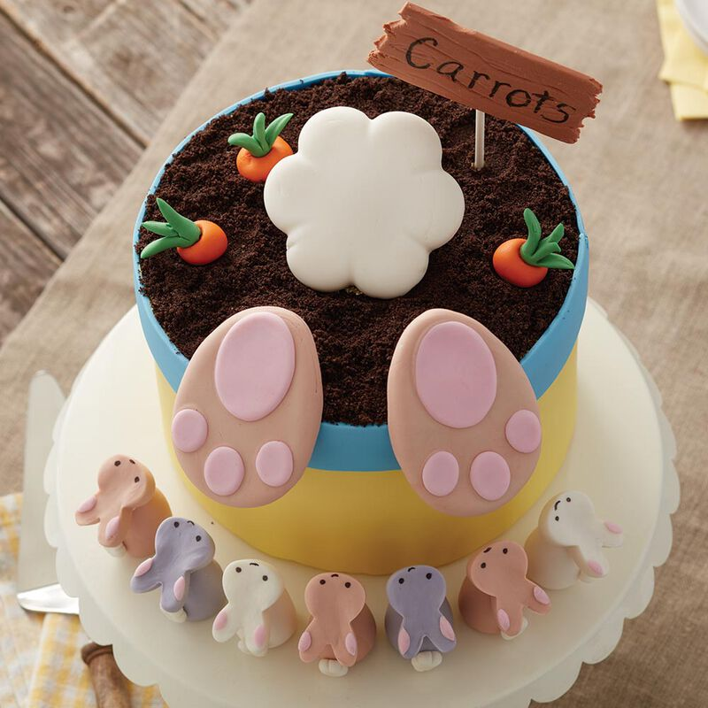 An aerial view of the Bunny Butt Cake and small bunny rice cereal treats image number 2