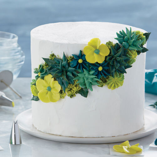 Shades of Green Floral Cake