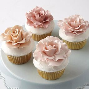 Love in Bloom Rose-Topped Cupcakes