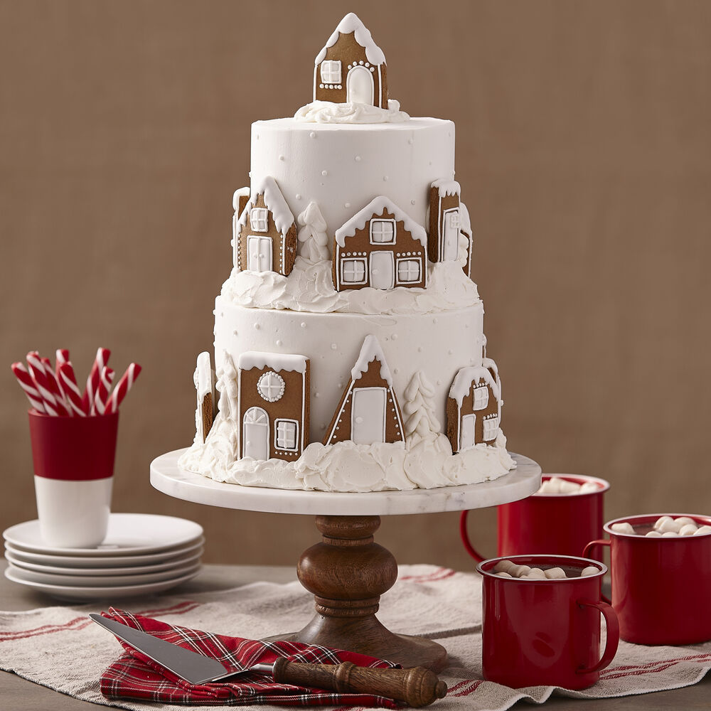 2 Tier Gingerbread Cake - Snowy Village