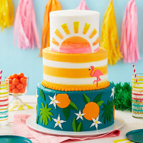 Tropical Getaway Retirement Cake - Three tiered cake using fondant to make tropical details