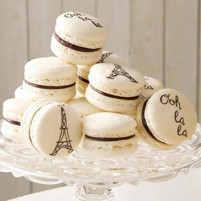 Off white french macarons with the Eiffel Tower