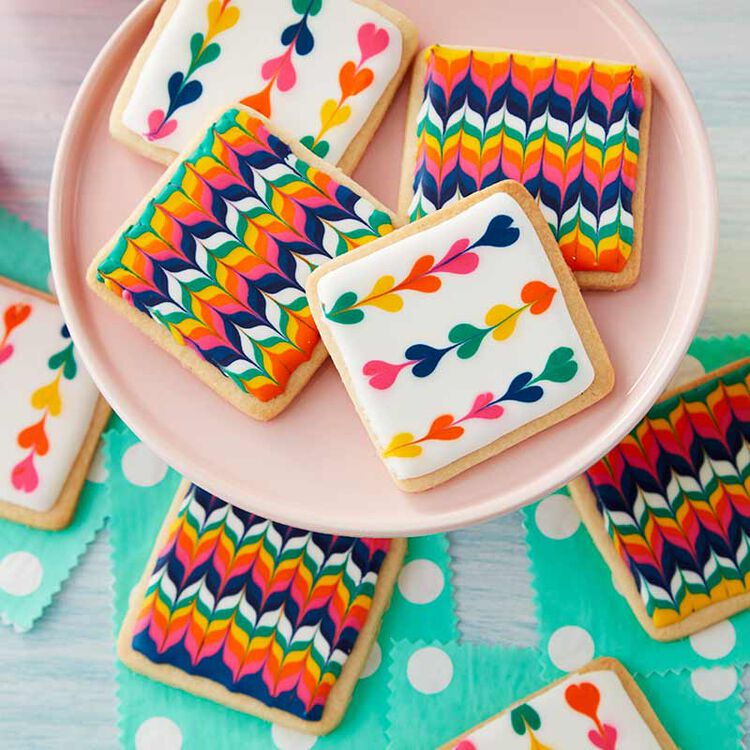 Cookies with Royal Icing zig zags and hearts