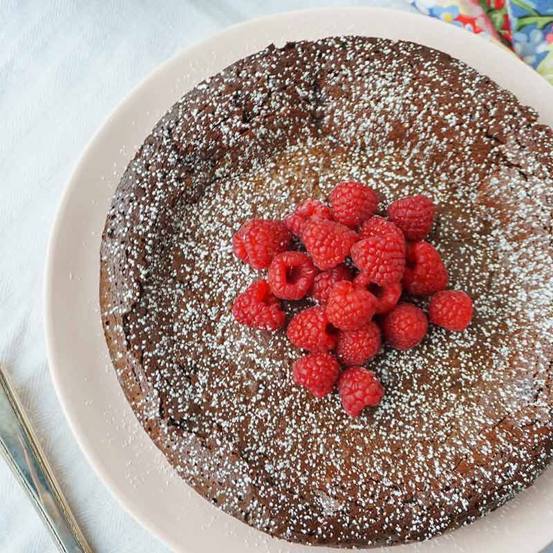 flourless chocolate cake with fresh raspberries image number 4