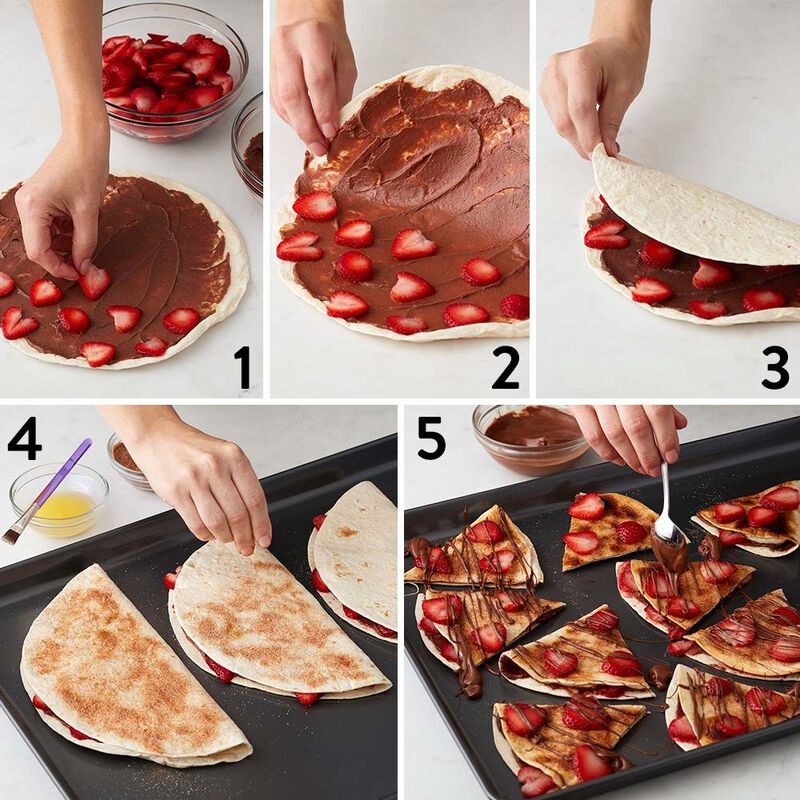 Chocolate and Strawberry Dessert Quesadillas Recipe image number 1