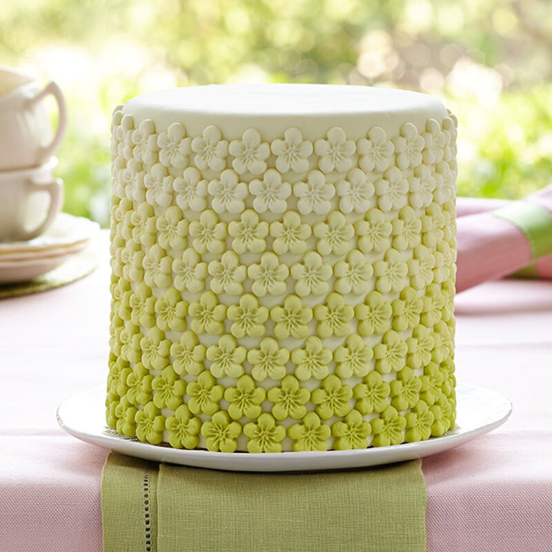 Green Ombre Flower Cake image number 0